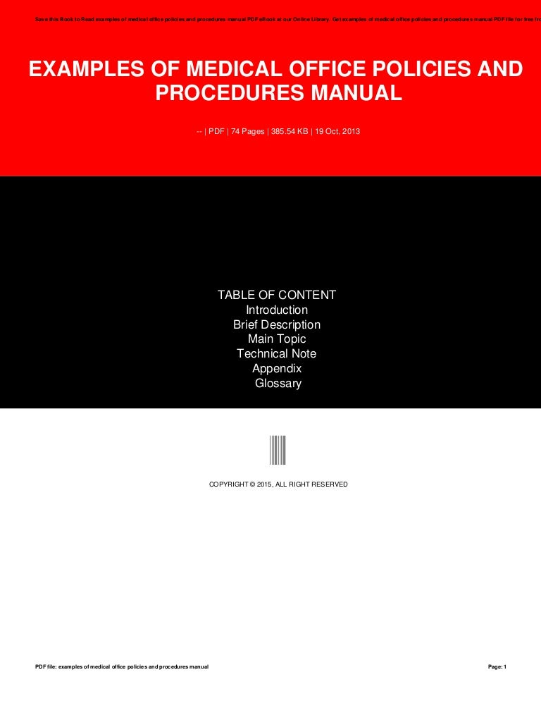 medical office policies and procedures manual sample
