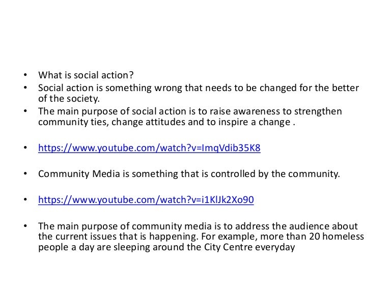 Examples Of Social Policy >> Examples of social action and community media