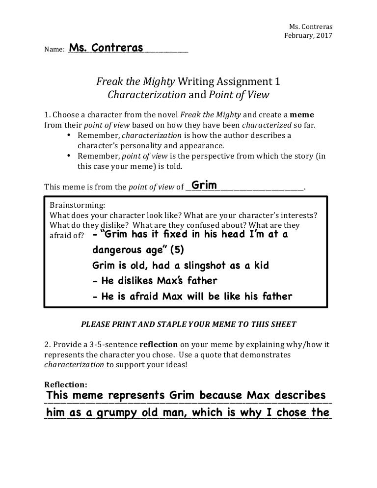 Example writing assignment 1