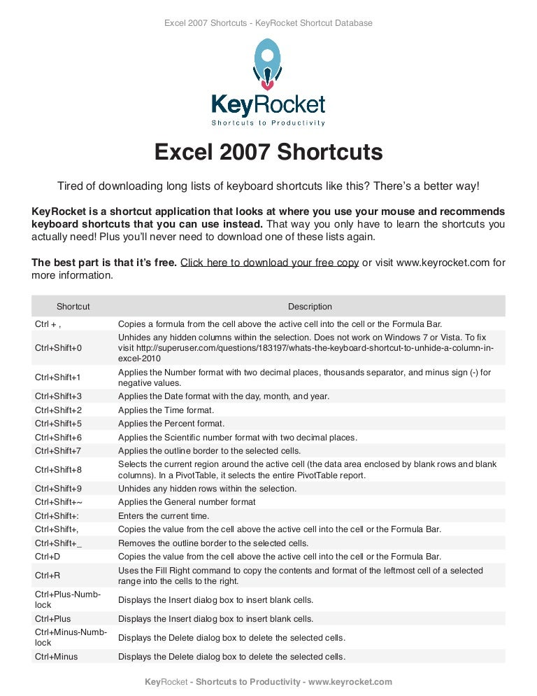 In pdf keys 2007 shortcut excel