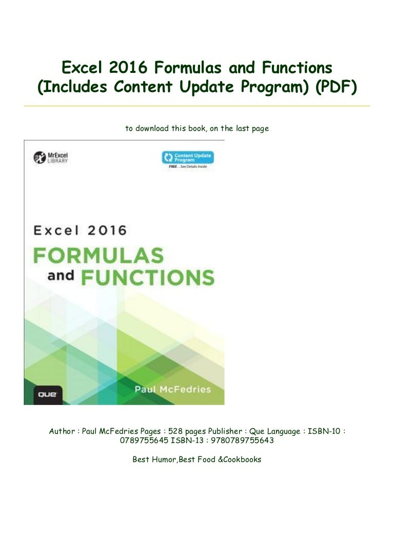 Excel 20 Formulas and Functions Includes Content Update Program …
