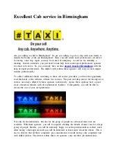 Excellent Cab service in Birmingham