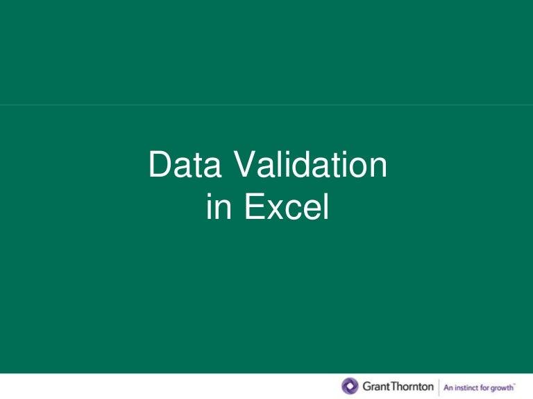 Excel presentation data validation