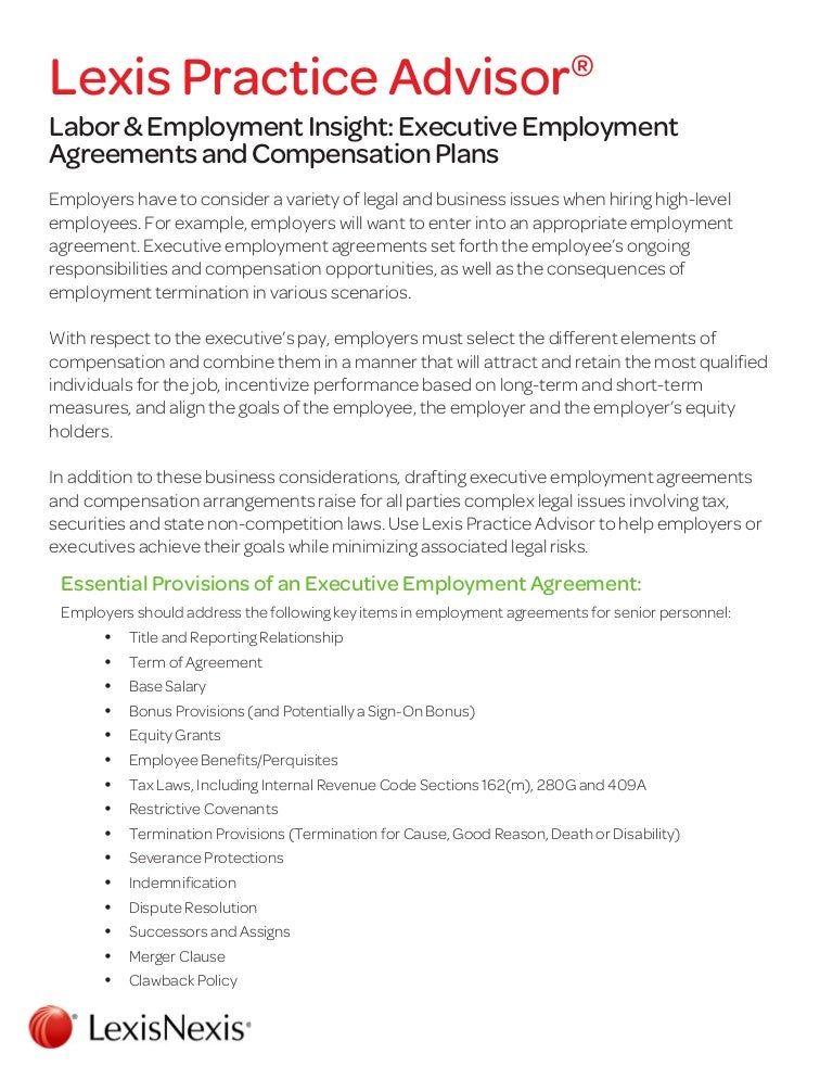 Labor Employment Insight Executive Employment Agreements and Compe – Executive Employment Contract