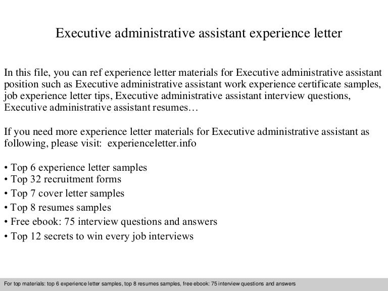 Cover Letter For Executive Assistant Position