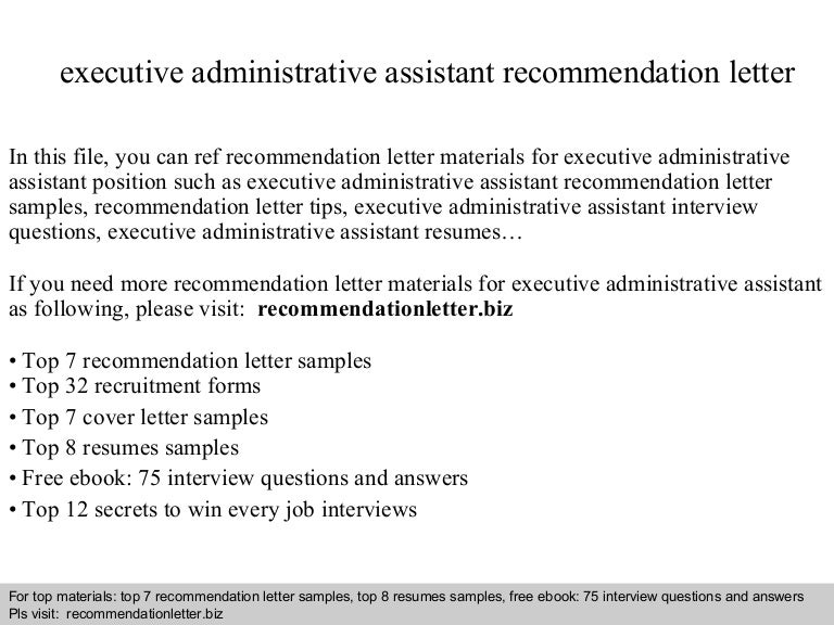 executive administrative assistant recommendation letter