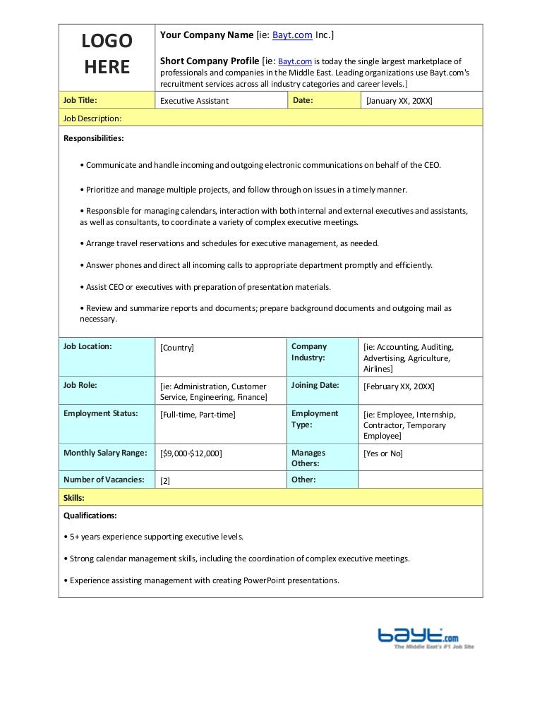 Executive Assistant Job Description Template By Bayt.Com