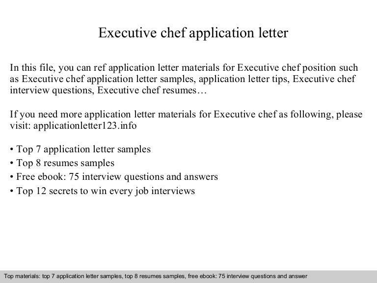 Executive chef application letter