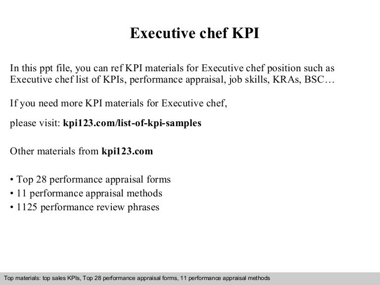 Executive Chef Kpi