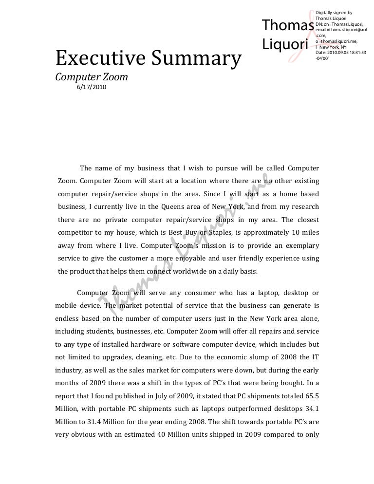Executive summary – Business Executive Summary Template
