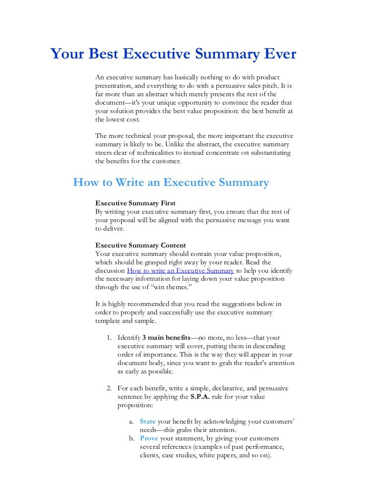 Writing Executive Summary Template Project Executive Summary
