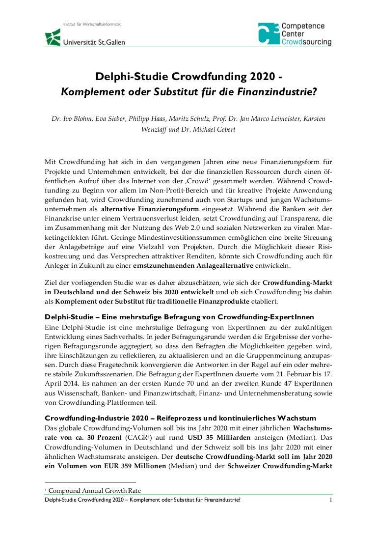 Delphi Studie Crowdfunding 2020 Komplement Oder Substitut Für Die F