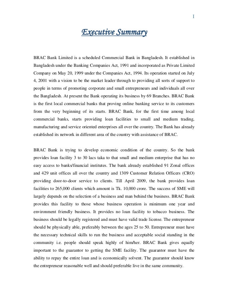 executive summary of sme activities of brac bank limited