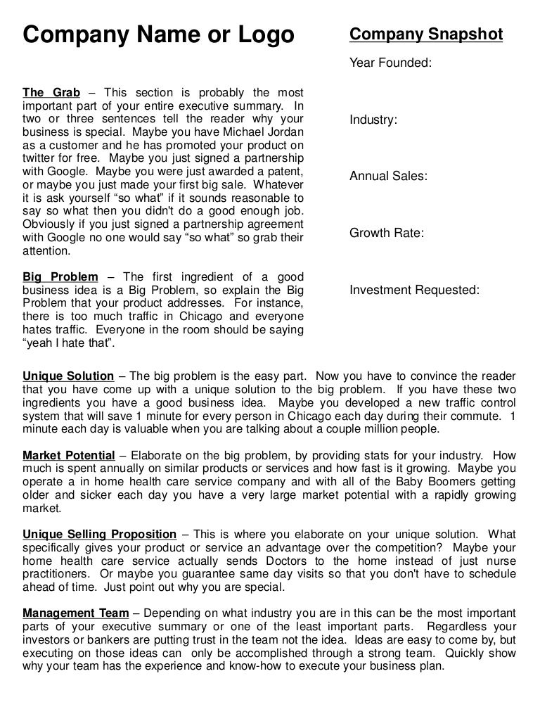 Executive summary template – Business Executive Summary Template