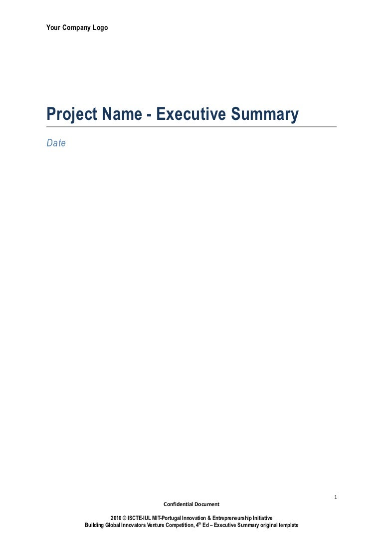 Executive Summary Template – Simple Executive Summary