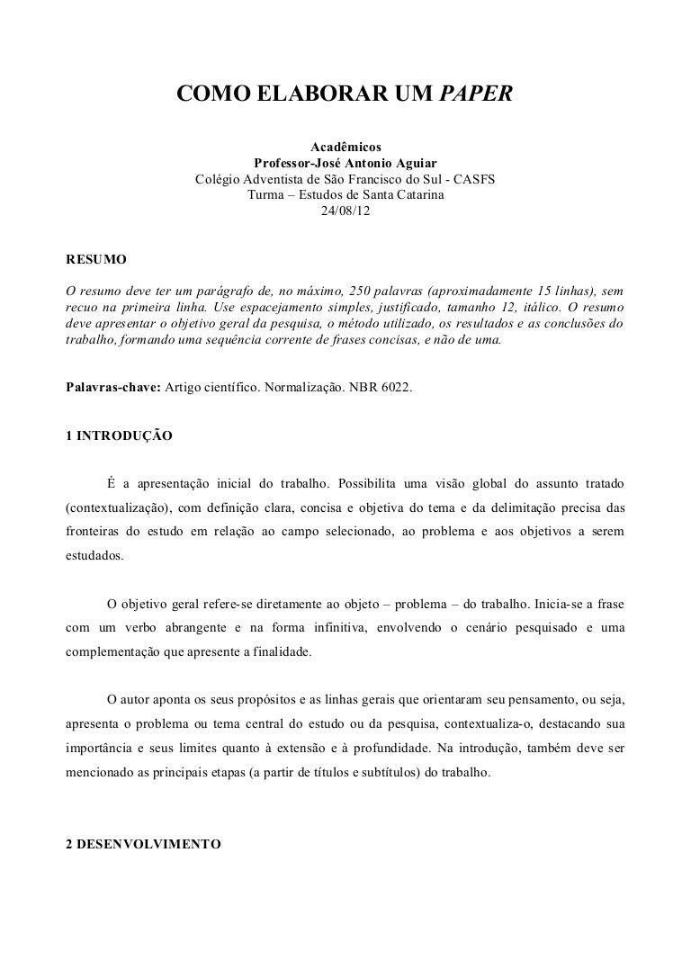 Exemplo de introdução de trabalho academico