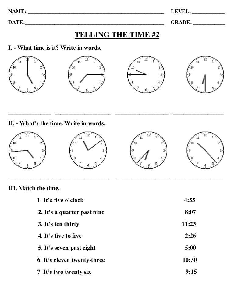 exercise for telling time. Black Bedroom Furniture Sets. Home Design Ideas