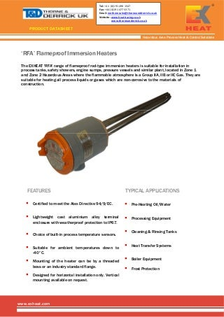 Exheat Flameproof Hazardous Area Industrial Immersion Heaters, Zone 1 & 2 RFA Rod Immersion Heater - Spec Sheet