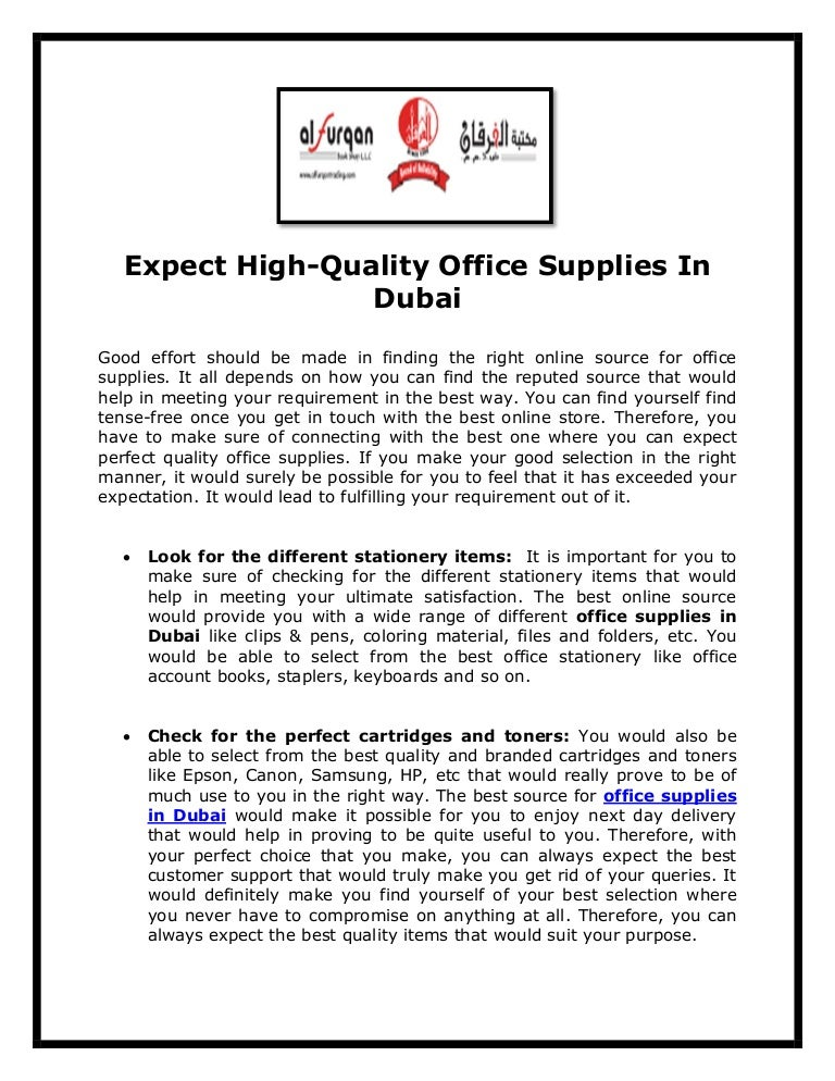 Expect high quality office supplies in dubai