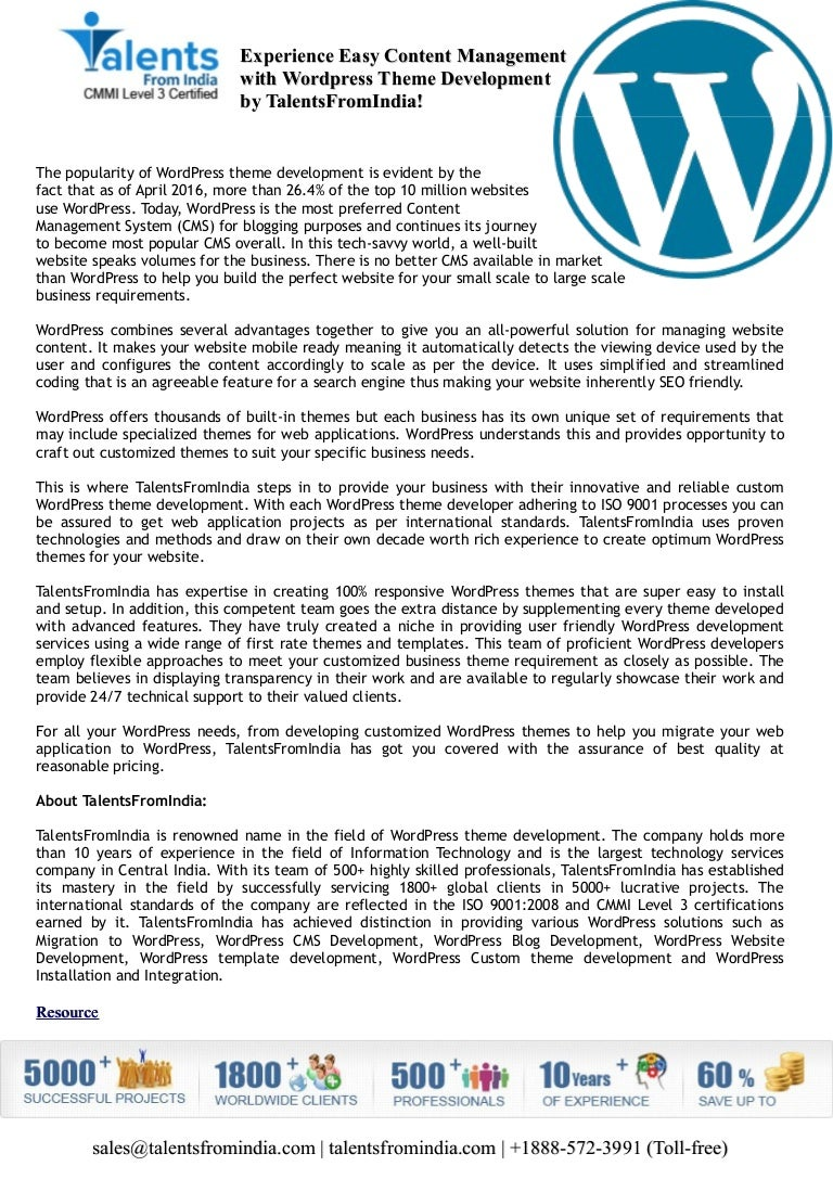 Experience Easy Content Management with Wordpress Theme Development b…