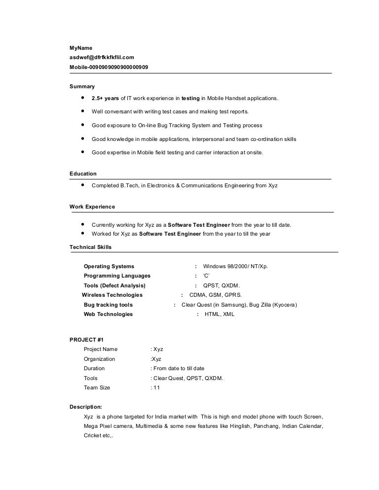 Software Testing Resume Format For Experienced Vosvetenet – Software Testing Resume Samples for Freshers