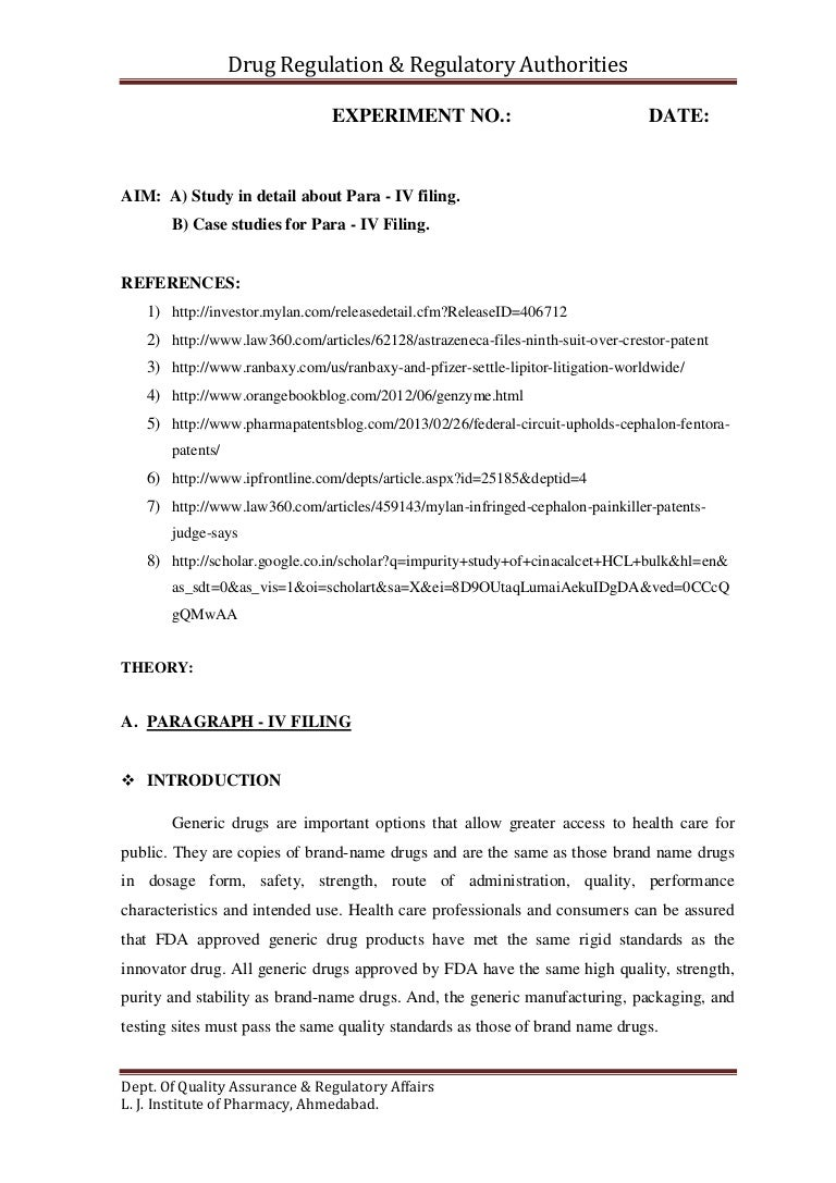 A Study In Detail About Para Iv Filing B Case Studies For Para