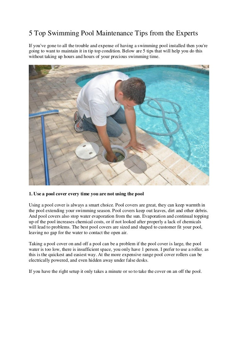 Swimming Pool Theory : Experts top swimming pool maintenance tips