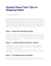 Experts Share Their Tips on Sleeping Habits