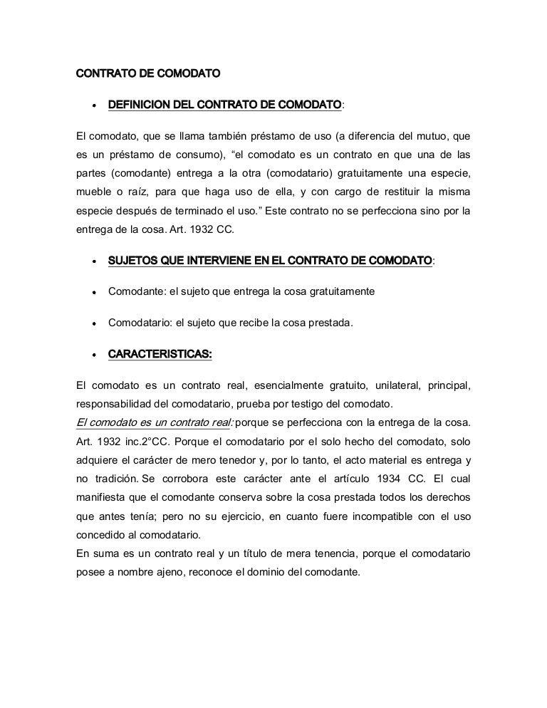 Explicaciones del contrato de comodato for Arrendamiento de bienes muebles ejemplos
