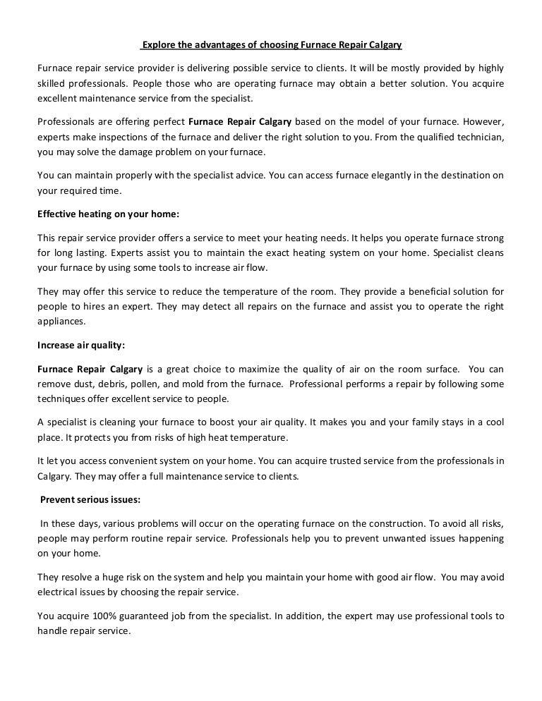 Explore the advantages of choosing Furnace Repair Calgary