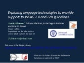 Exploring language technologies to provide support to WCAG 2.0 and E2R guidelines. Lourdes Moreno, Paloma Martínez, Isabel Segura-Bedmar, and Ricardo Revert. 2015. Universidad Carlos III de Madrid