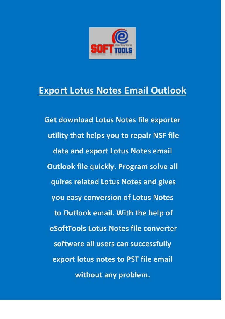 Export lotus-notes-email-outlook