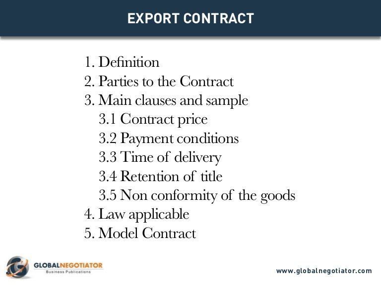 Export Contract - Contract Template And Sample