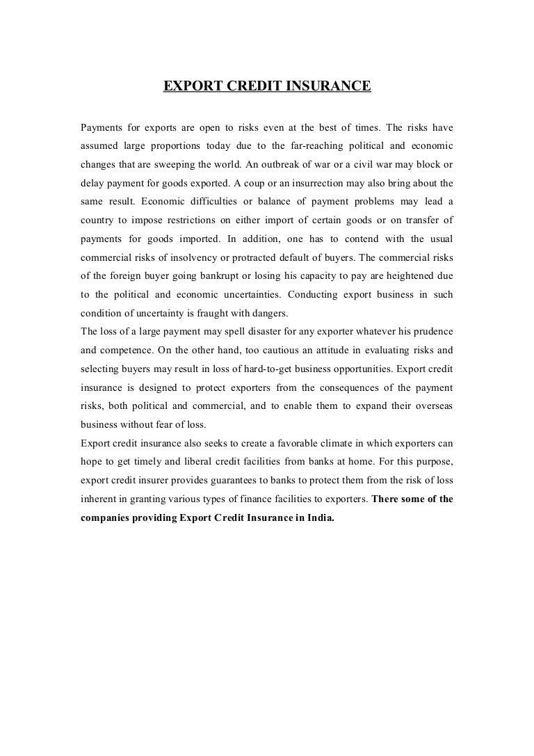 Export credit insurance project