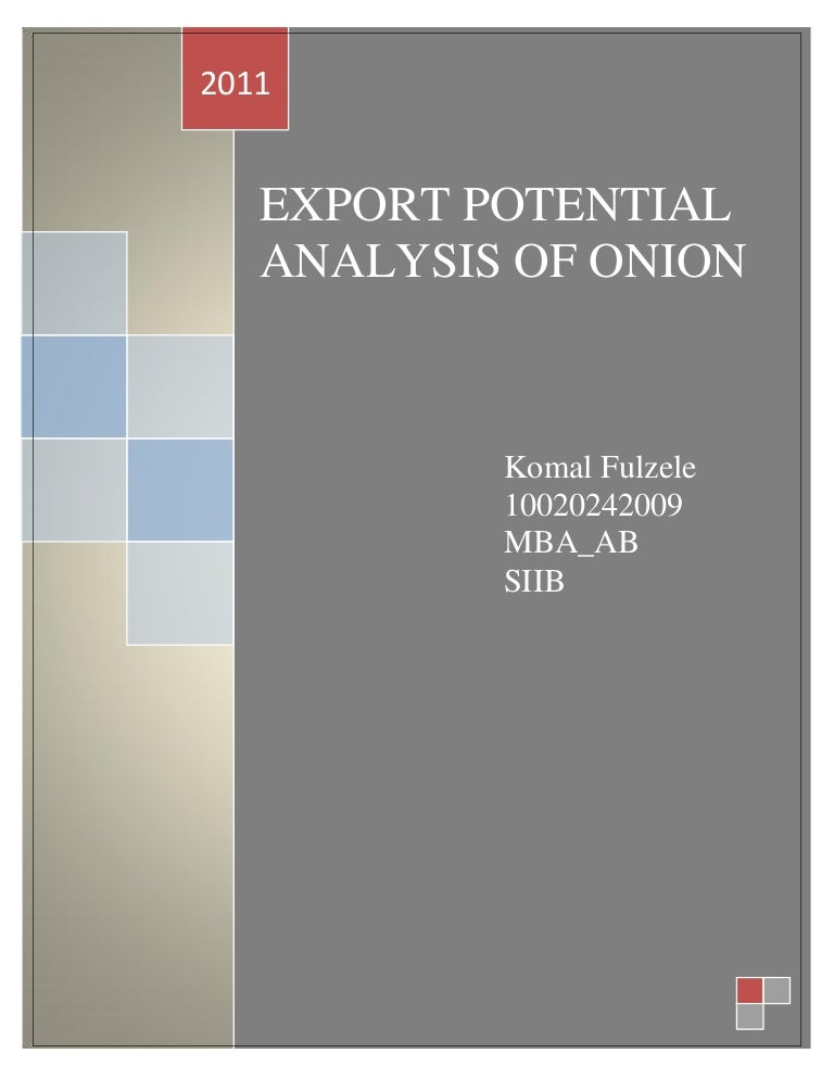 Export potential analysis of onion