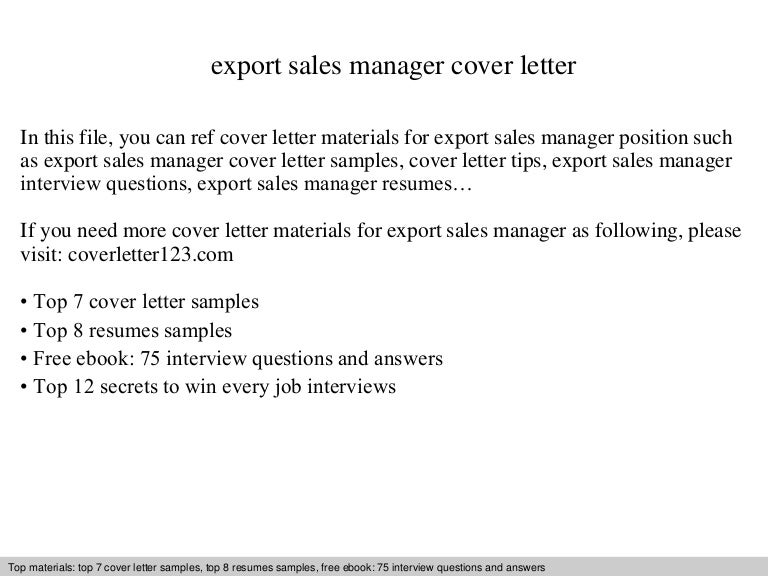 export sales manager cover letter - Sales Manager Interview Questions Sales Job Interview
