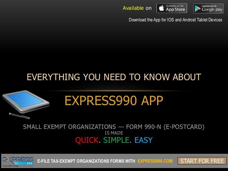 Express990 App Efile 990n E Postcard For Free