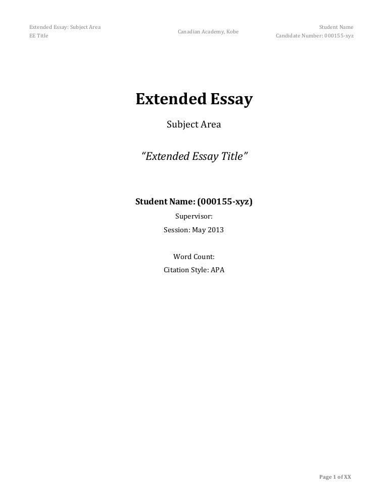 extended essay frame