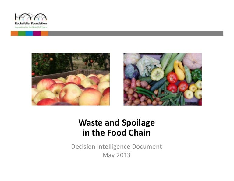 Waste and Spoilage in the Food Chain