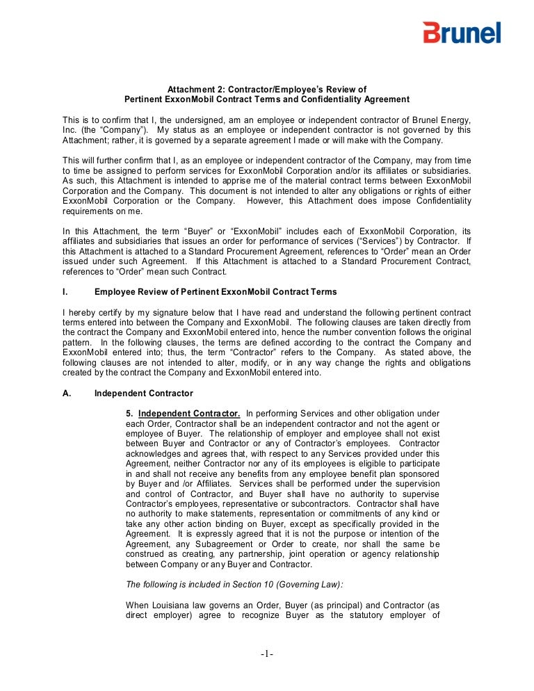 Exxon mobil contract terms and confidentiality agreement platinumwayz