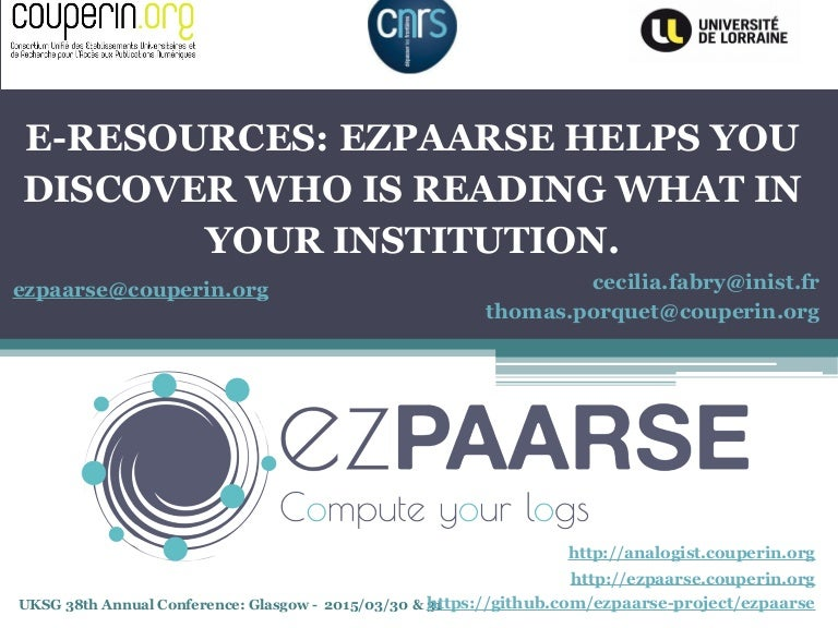 UKSG Conference 2015 - E-resources: ezPAARSE helps you
