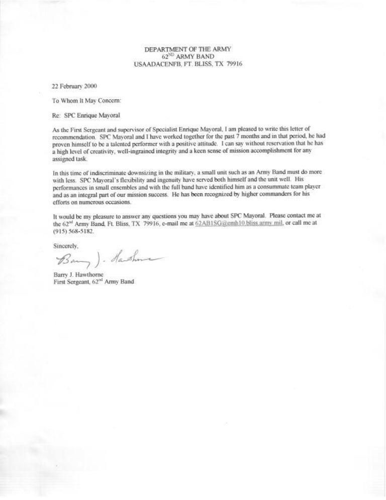us army letter of recommendation