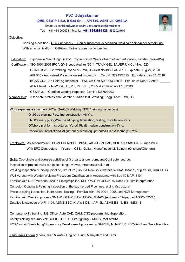 Resume SrQC InspectorMechweldingpaintingpipingpipeline