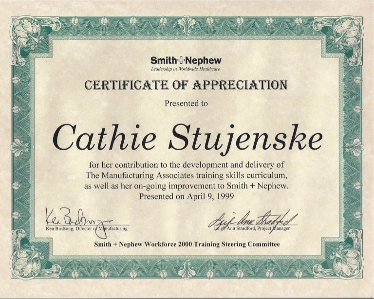 Smith and nephew certificate of appreciation yadclub Images