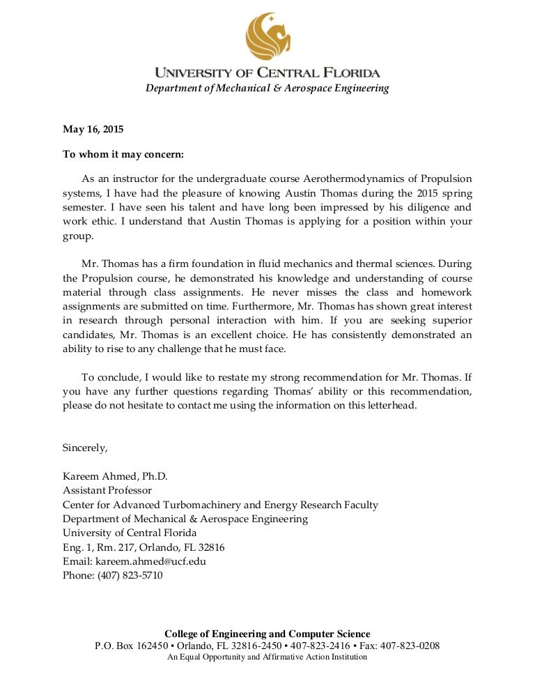 dr  ahmed letter of recommendation