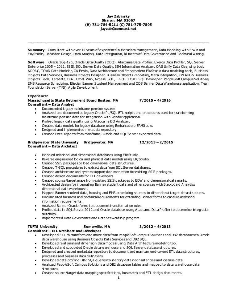 data modeling resume