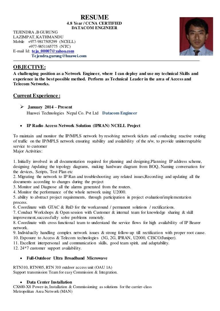 mpls network engineer resume