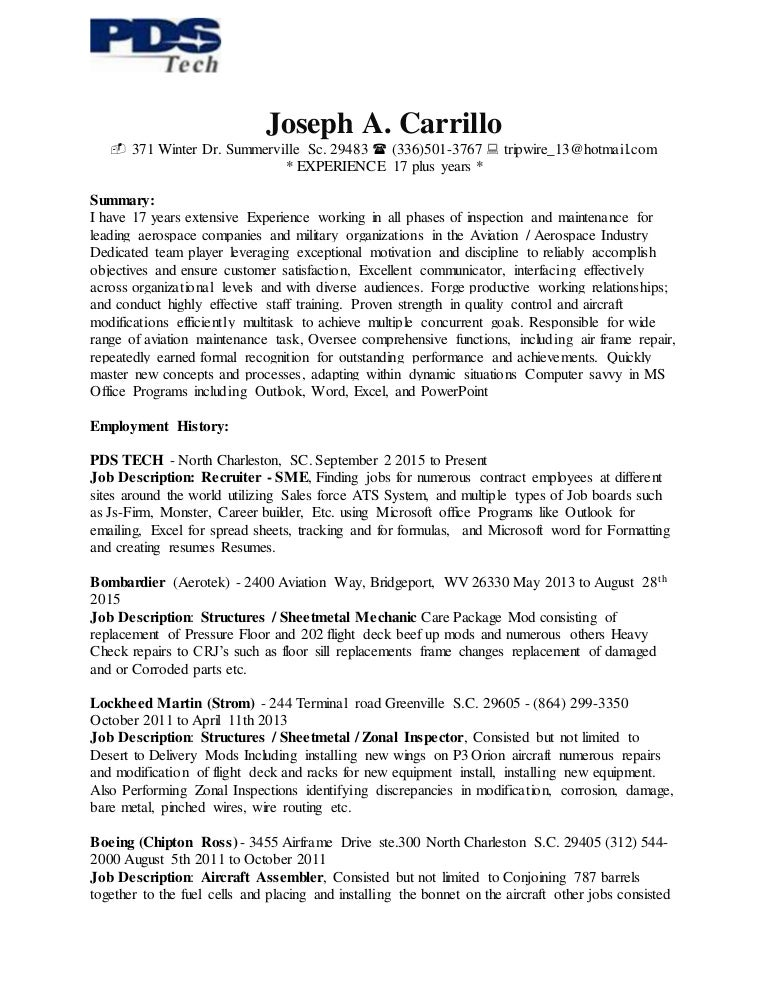 Joseph A CarrilloS Resume