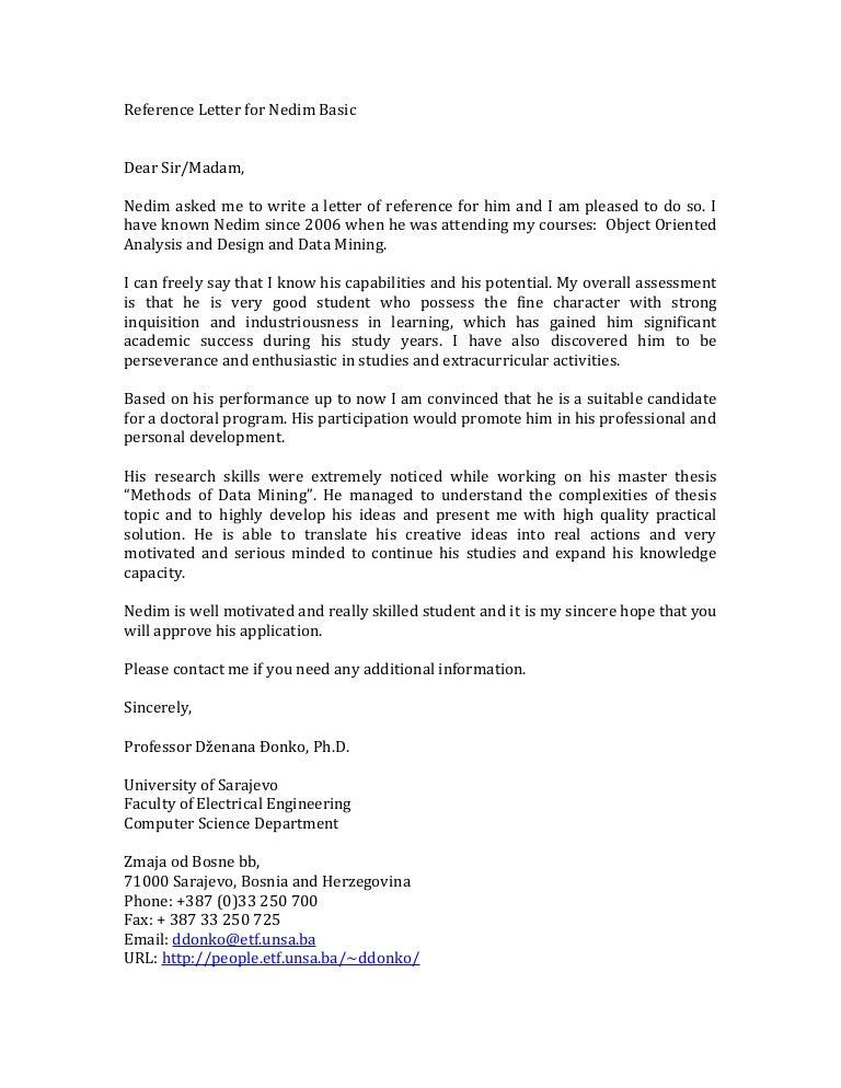 Reference Letter Nedim Basic – Basic Reference Letter