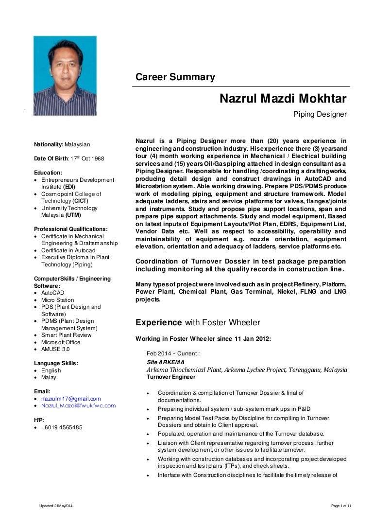 piping layout engineer resume resume nazrul mazdi mokhtar piping designer  resume nazrul mazdi mokhtar piping